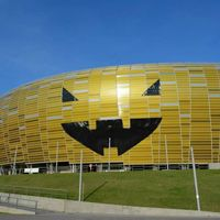 Poland: Stadium in Gdansk disguised as world's largest Halloween pumpkin