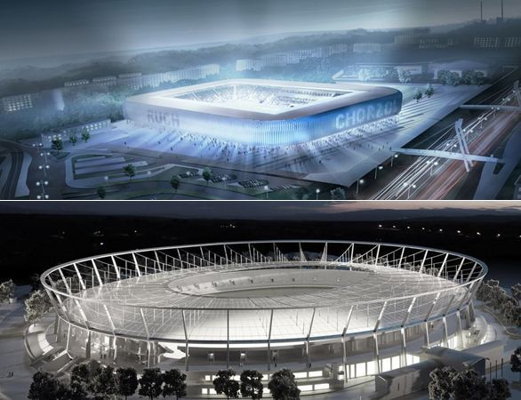 Ruch stadium - proposed and eventual