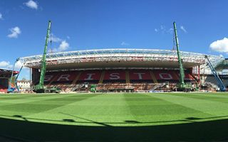 Bristol: East stand's truss lifted into place