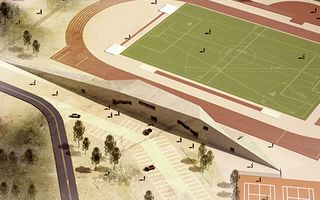 New design: Stadium hidden in former quarry