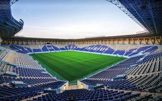 New stadium: Golden football stadium on campus