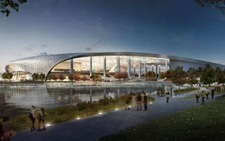 New construction: Groundbreaking on world's most expensive stadium