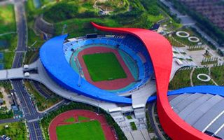 New stadium: The red-blue ribbons of Zhenjiang