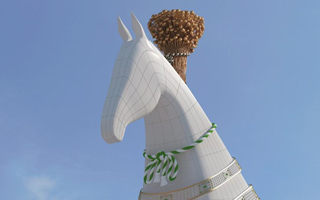 New stadium: The 600-ton horse head in Ashgabat