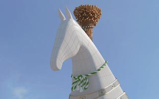 New stadium: The 600-ton horse head in Ashgabat