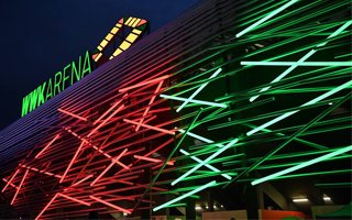 Augsburg: WWK Arena lit up for the first time