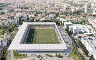 New stadium and design: In the Leaning Tower's shade