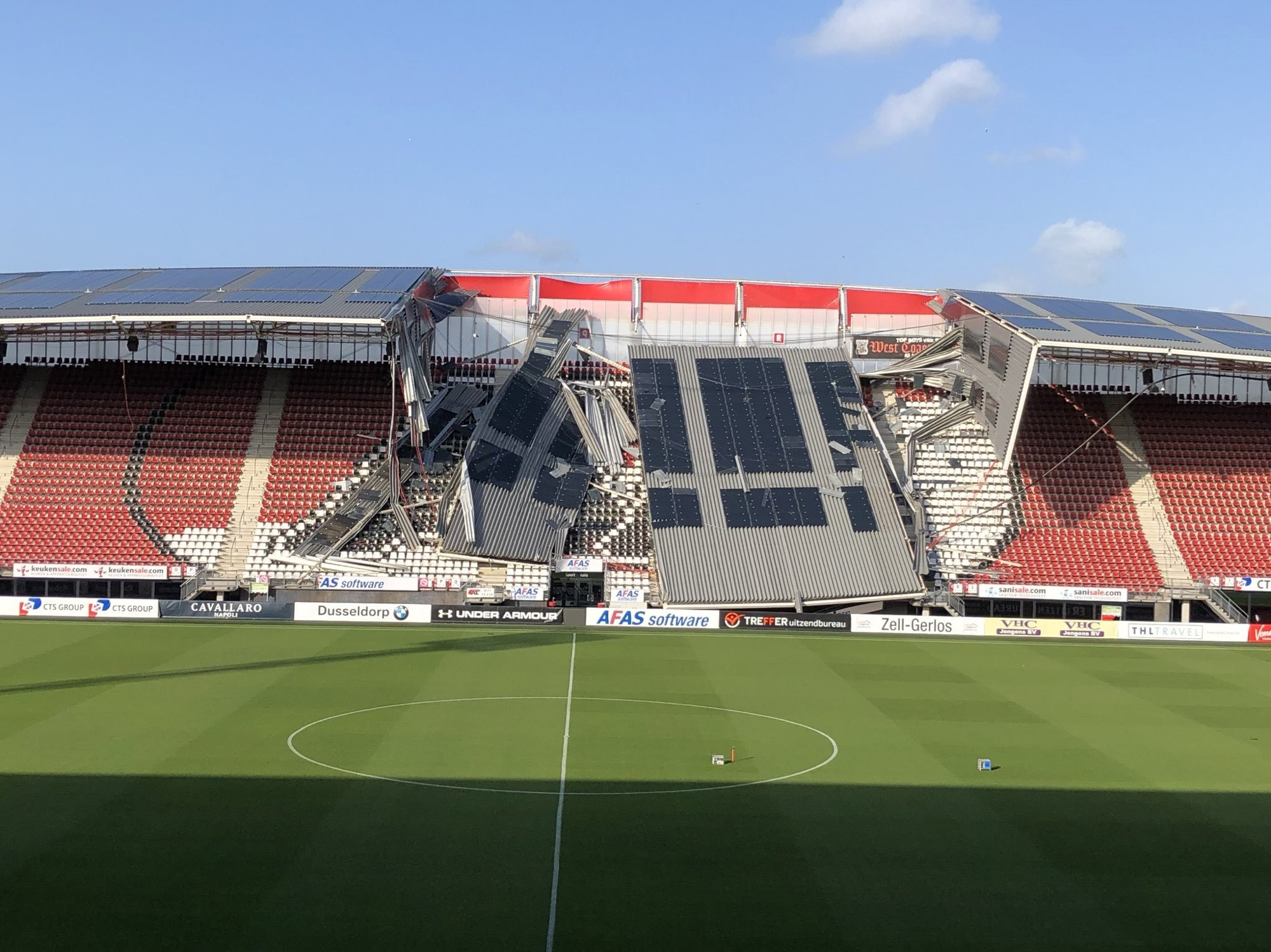 AFAS Stadium in Alkmaar after the roof collapsed