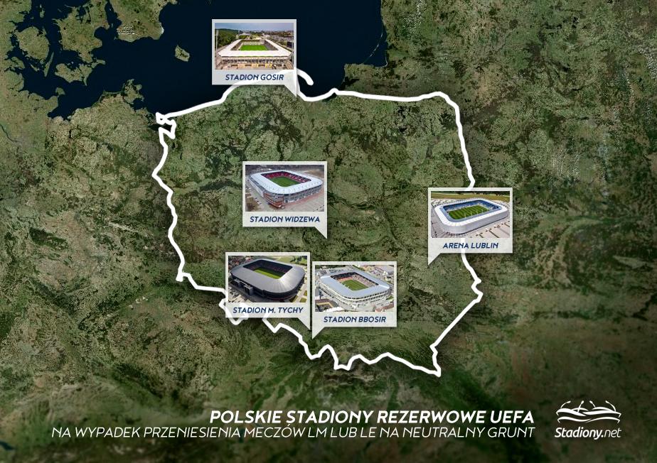 Polskie stadiony wybrane przez UEFA