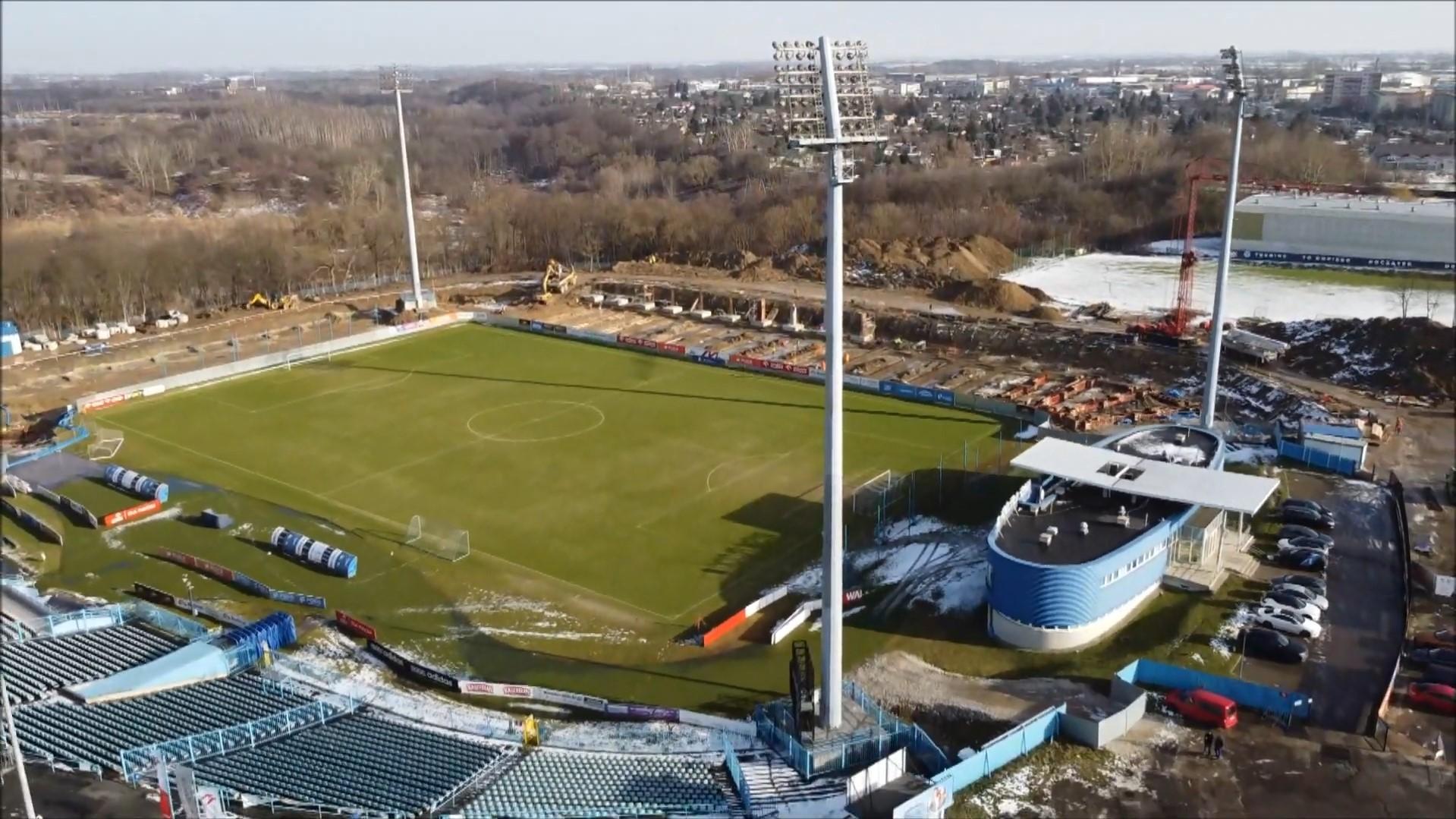 Stadion Miejski w Płocku, plac budowy Mirbud