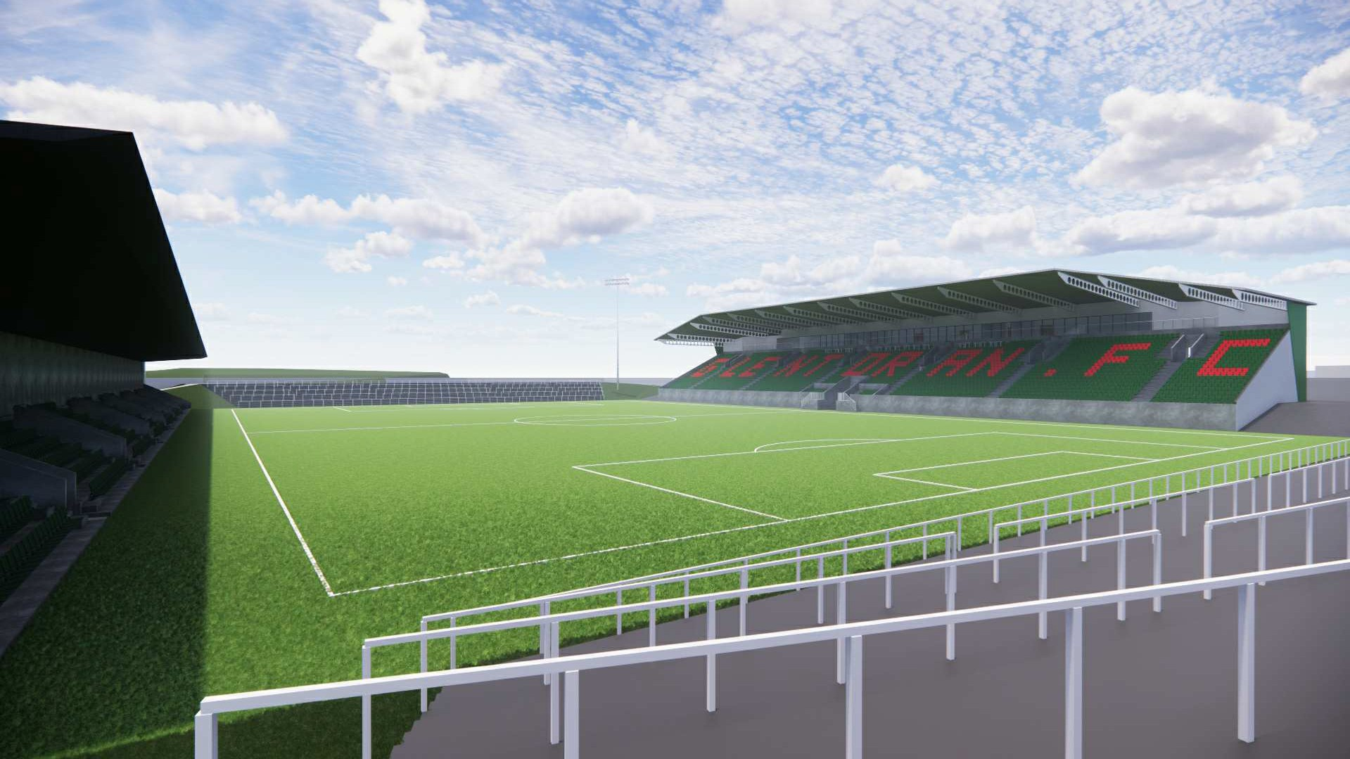 Glentoran's new Oval stadium in Belfast