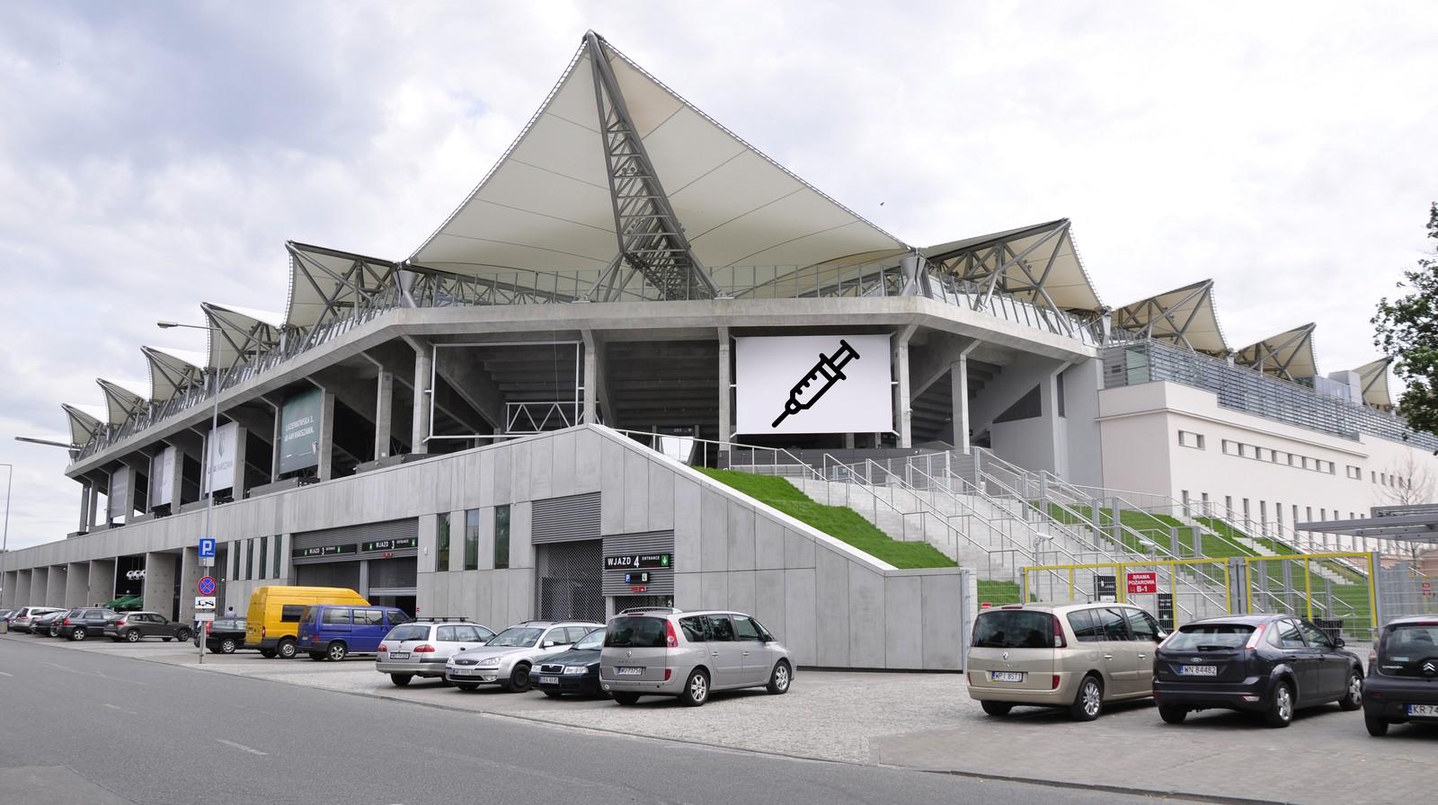 punkt szczepień na COVID-19 na Stadionie Wojska Polskiego w Warszawie