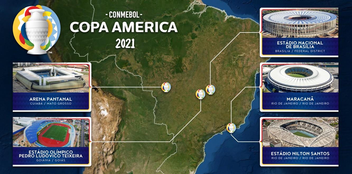 Copa America 2021 in Brazil, map of host venues