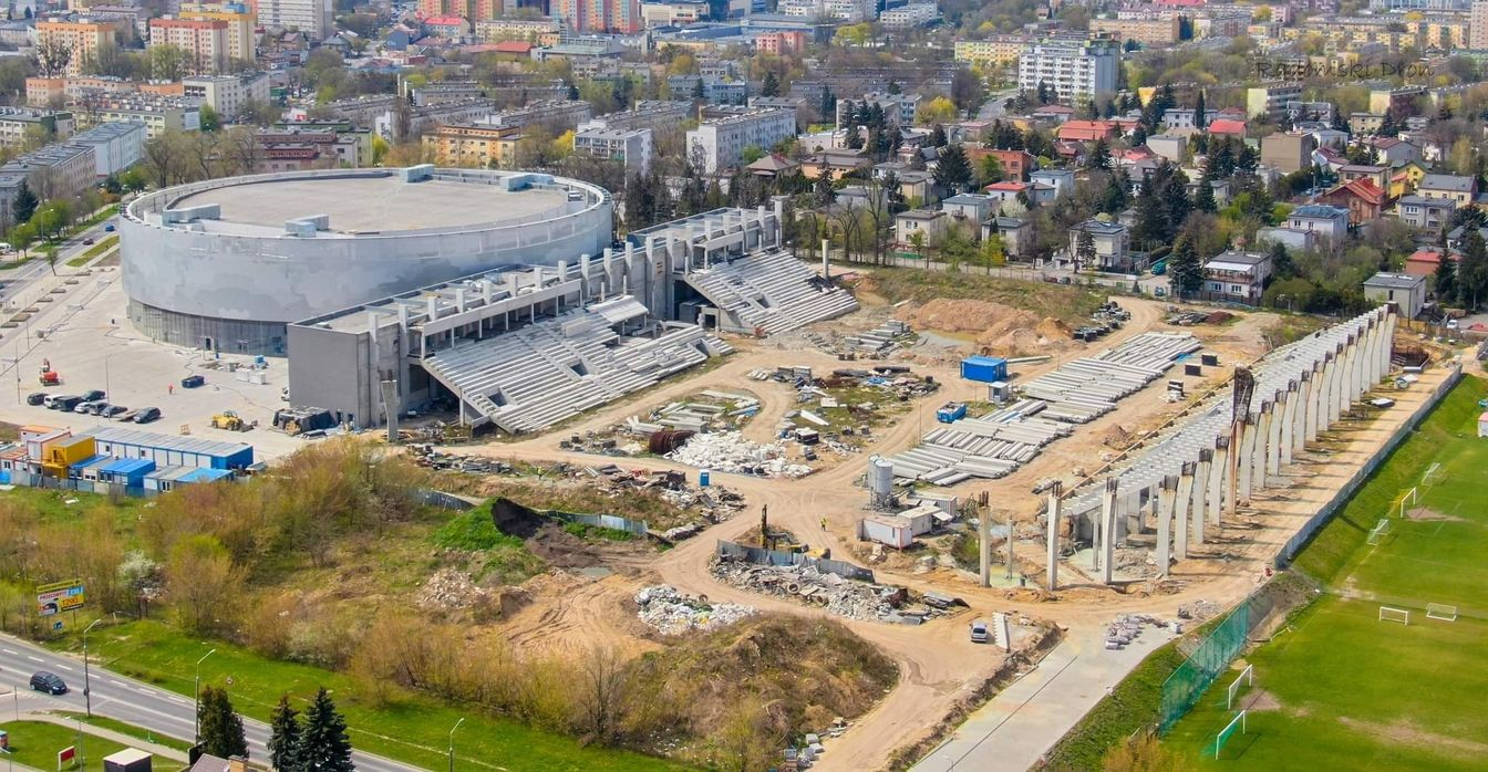 przebudowywany Stadion Radomiaka przy ul. Struga, Radom