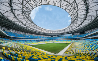 New stadium: Sports complex like bowl for tea infusion
