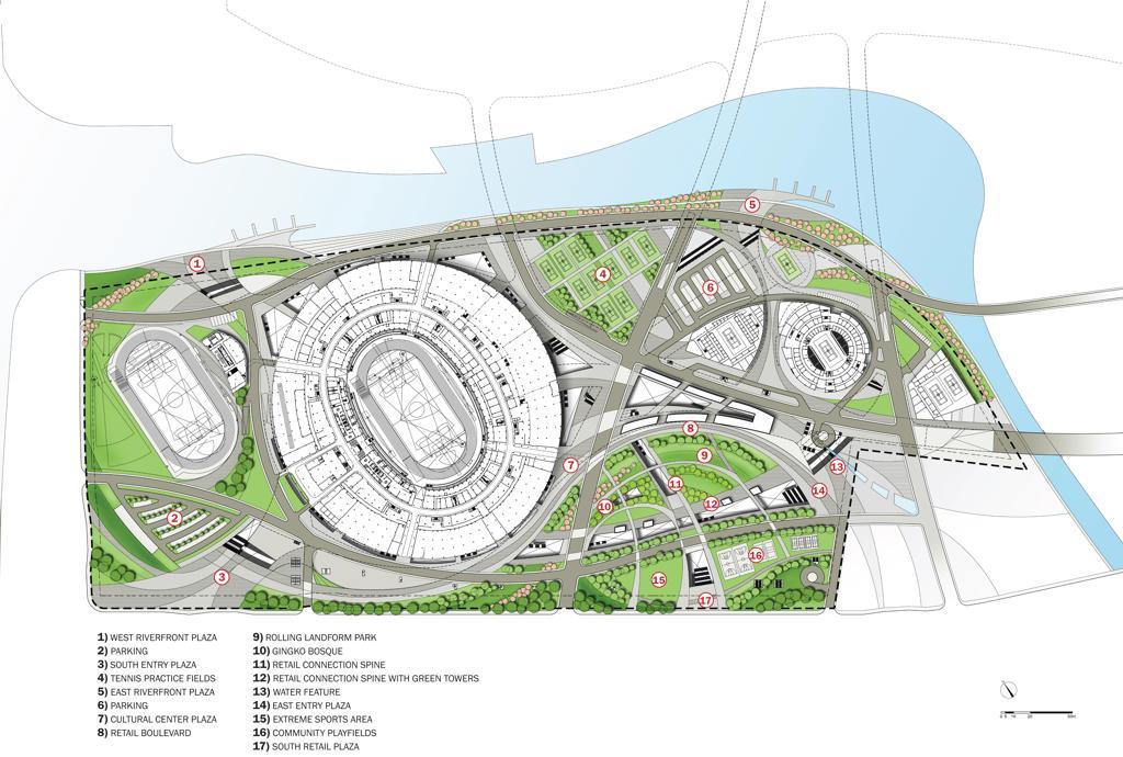 Design hangzhou sports park stadium for Sports complex planning design