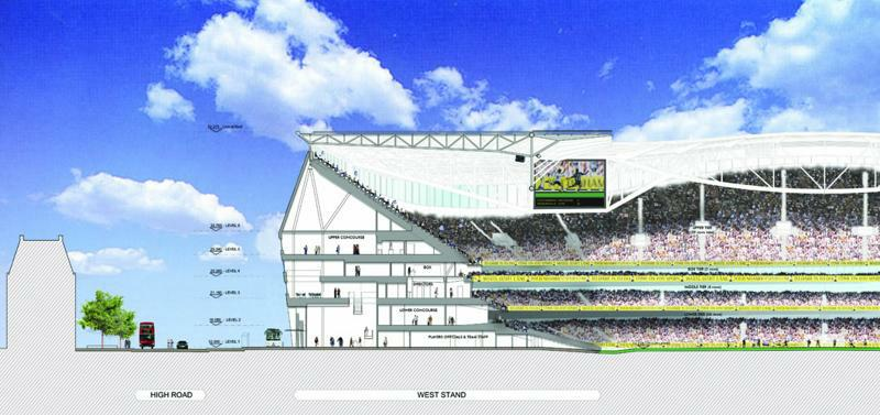 Design new tottenham stadium for News section design